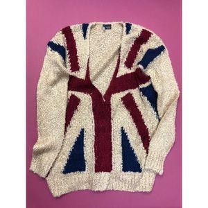 UO Sparkle & Fade Union Jack Cozy Cardigan